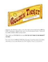 SFRCNA Golden Ticket